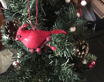 Vintage feather cardinal Christmas ornament