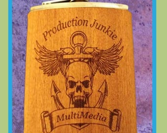 6 - 0z. wood wrapped hip flask