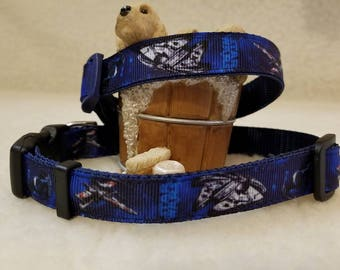 Space Handmade Dog Collar 5/8 Inch Wide Medium & Small