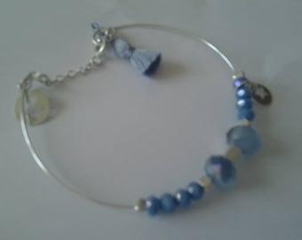 Blue faceted silver Bangle Bracelet