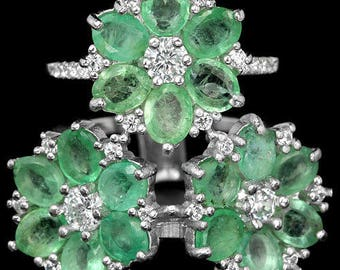 Natural AAA Columbian Green Emerald  & CZ 925 Silver Ring 14K White Gold Coating