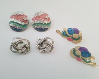 Vintage 1980's Large Statement Earrings - Pastel Circle Earrings (Stamped), Silver Knot Earrings, Pastel Cloud Earrings-For Pierced Ears