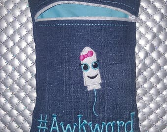 Fiver Friday Tampons are #Awkward Cosmetics/Tampon Bag. Fantastic for CSPs, reusable Sanitary Towels + Moon Cups with a wipeable waterproof