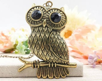Owl Necklace, Antique Brass Large Owl Pendant Necklace, Mark of Athena Inspired Owl, Percy Jackson Inspired, Annabeth Chase Inspired