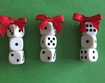 Bunco Bunko Custom Set of Three WHITE DICE ORNAMENTS with Red Satin Bows