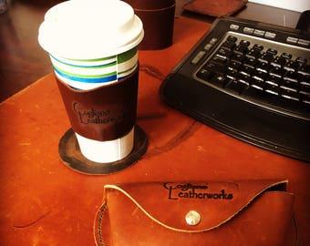 Leather coffee sleeve, cup sleeve, coffee sleeve, drink insulator, full grain leather, handmade,  copper rivets