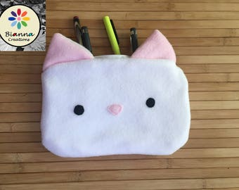 """9x6"""""""" Kawaii White Cat Face Pouch, Japanese Anime Lover Animal Pen Pencil Storage, Kitten MakeUp Cosmetic Bag, 3DS Kitty Travel Buddy Case"""