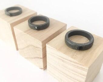 Concrete Ring With Black Swarovski Crystal