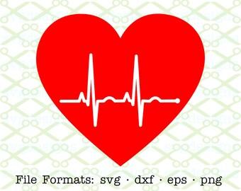 EKG Heart SVG, Dxf, Eps & Png. Digital Cut Files for Cricut, Silhouette; Ekg Inside Heart Silhouette, Ekg Ecg Heart, Valentine Svg Cut Files