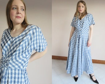 GINGHAM Check Corset Lace Up Dress / 1980's Power Dressing / Country Cowgirl / Midi Maxi Blue White Cotton / Short Sleeves Padded Shoulder