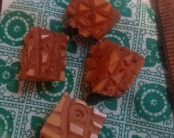 Wooden carved buttons 4 pieces