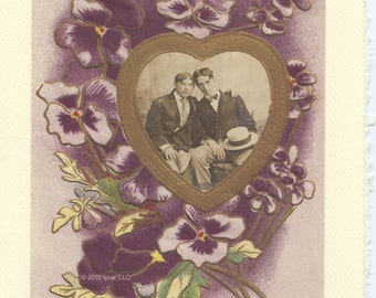 One Heart: Vintage LGBTQ+ Card - gay engagement card, vintage floral card, greetings, just saying hello, just because card, gay wedding card