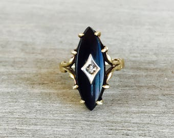 CLEARANCE Vintage onyx and diamond navette ring in yellow gold
