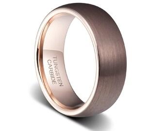 Mens Wedding Band Cappuccino Rose Gold Ring Bandrose