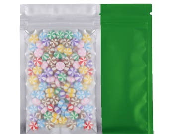 8.5x13cm (3.25x5in) 100pcs Clear/Silver/Green Flat Pouches translucent Zip Lock Retail Packaging Storage Bags with Zipper