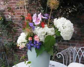 Dramatic and very large Bourne Denby blue 1930s Gretna Design, two handled vase/rustic wedding - flower arranger's heaven!
