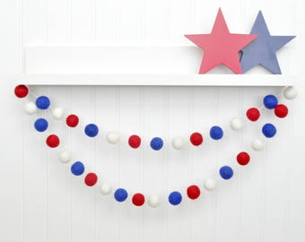 4th July Party Decor, 4th of July Garland, Fourth of July Decorations, Red White Blue Felt Ball Garland, Patriotic Banner, American Decor