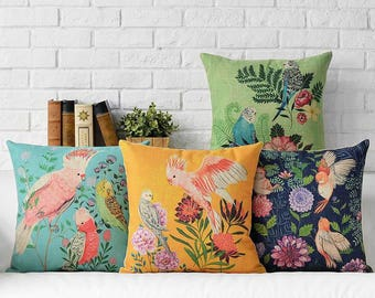 Beautiful Birdie Decorative Pillow Cover - Parrots