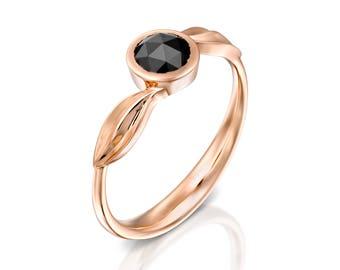Rose gold engagement ring, Leaves ring, Diamond engagement ring, Black diamond ring, Leaf wedding ring, Rose gold wedding ring, Leaf ring