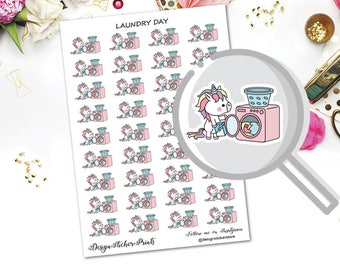 Cute Unicorn Laundry Stickers/Kawaii Stickers/Laundry Stickers for Erin Condren Lifeplanner/Happy Planner Stickers/Unicorn Stickers