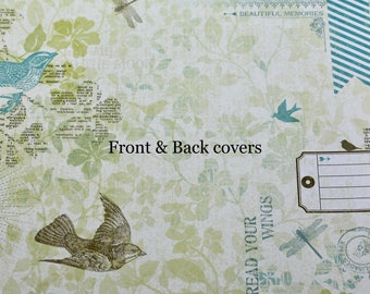 Custom Planner Cover, Happy planner cover, ARC cover, Discbound:Spring flowers, blue, yellow, birds