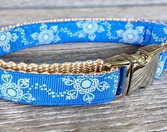 "Snow Flurries 5/8"" Wide Dog Collar, Blue Dog Collar, Snowflake Dog Collar, Small Dog Collar, Christmas Dog Collar, Xmas Dog Collar"