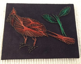 Vintage Wire Art Cardinal Bird  Multi Colored Wire Wall Hanging-9x7