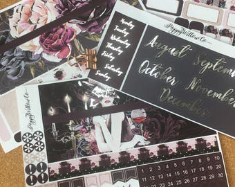 Silver Foiled Femme Fatale August to December ERIN CONDREN MONTHLY Spread Decorative Sticker Set