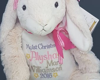 Personalised baby, bunny soft toy, baby gift, baptism gift, christening gift, birth announcement, baby shower gift, photo shoot prop,
