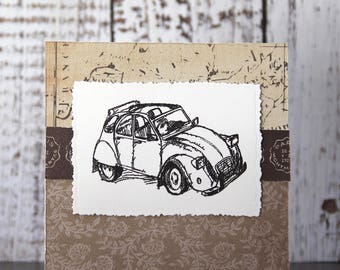 Masculine card with retro car