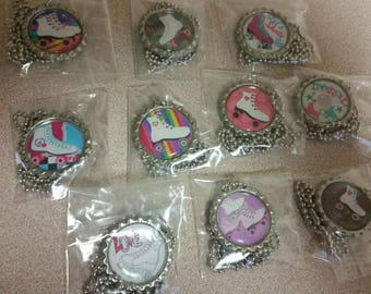 roller skates  bottlecap necklace party favors lot of 5 necklaces for loot bag