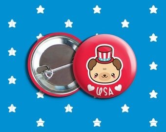 "Kawaii Bear 4th of July Vegan Veggie Vegetarian Pinback Button Pin 1.75"" ""USA"" Red"