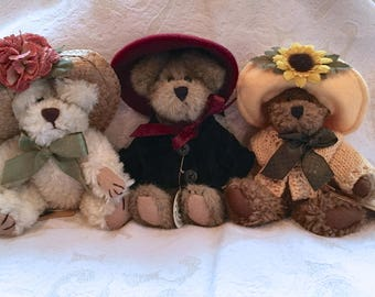 Trio of Boyds Bears - Minnie Higgenthorpe, Eloise Willoughby, Flora Mae