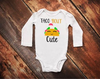 Taco Onesie®, Funny Onesies, Baby Girl Clothes, Taco Birthday Party, Cute Baby Onesies,Taco Bout Cute Onesie,  Hipster Baby, Taco lover top