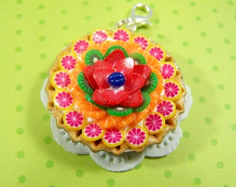 Polymer Clay Bottle Cap Fruit Tart Key chain. Miniature Food, Food Jewelry, Miniature Food Jewelry. Bottle Cap Fruit Tart