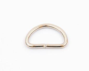 5 non-soudes 25x12mm chrome D-rings