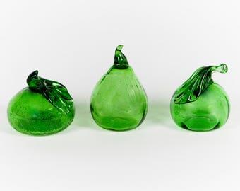 3 Handblown Green Glass Fruits