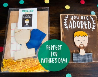 Design-A-Dad DIY Kit // Father's Day painting kit for kids Paint your own dad! Gift for him from kid painting kit wood d.i.y gift for dad