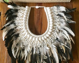 Tribal Feather & Shell Necklace