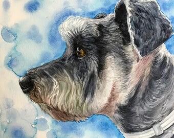 Custom Dog Portrait 8x8 INCH CRADLED, Pet Portrait, Watercolor pet portrait on Cradled Wood Panel
