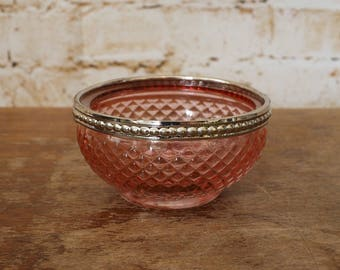 Pressed Glass Tealight Holder or Bowl - Pink