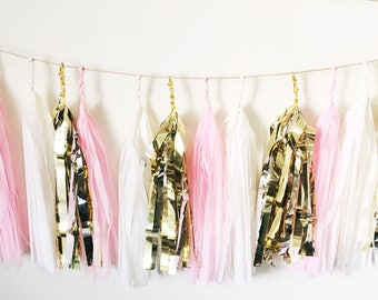 Blush Pink, White and Gold Tissue Paper Tassel Garland/Pom Tassel/Party Garland/Party Tassels/Paper Banner/Party Decor/Balloon Tassels