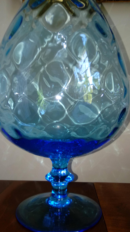 Vintage large blue glass brandy snifter aqua blue vase seaside gallery photo gallery photo gallery photo reviewsmspy