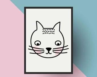 Nordic Print | PRINTABLE Scandinavian Cat- Nursery art
