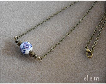 """Necklace chain vintage style with """"Vintage"""" Purple floral ceramic bead"""