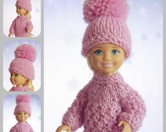 Miniature sweater, Chelsea doll, outfit, sweater, hat, Kelly doll, doll sweater, clothes, Barbie sister, Barbie doll, dollhouse sweater