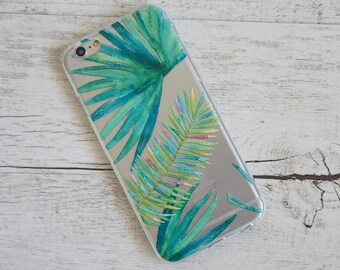Tropical Rainbow Palm Tree Flowers  Design Soft Mobile Phone Case - for; iPhone  6, 6 Plus, 7, 7 Plus, 8 & 8 Plus
