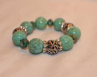 Turquoise and Silver Colored Beaded Stretch Bracelet- Glass Beads