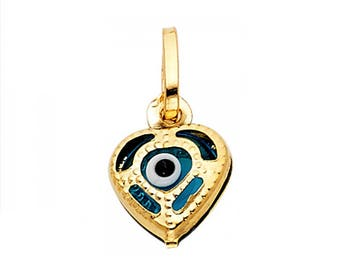 14K Solid Yellow Gold Heart Evil Eye Pendant - Good Luck Necklace Charm