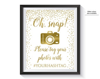 Oh Snap Wedding Sing, Wedding Hashtag Sign, Instagram hashtag, Social media sign, Instagram Sign, Gold Confetti Wedding Décor, Decorations